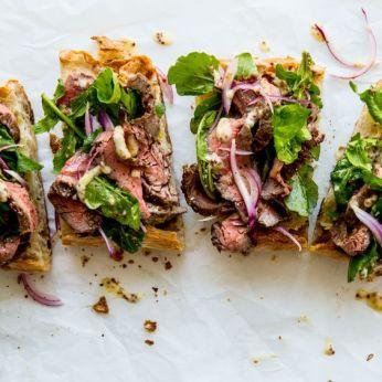 Open Faced Steak Sandwiches